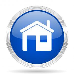house blue silver metallic chrome web circle glossy icon