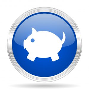 piggy bank blue silver metallic chrome web circle glossy icon