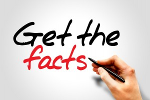 Hand writing Get the facts, business concept