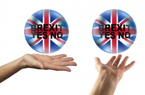 BREXIT YES or NO - Two versions of a female hand with a crystal ball hovering above containing the Union Jack and 'BREXIT YES NO' on a white background
