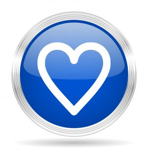 heart blue silver metallic chrome web circle glossy icon