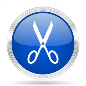 scissors blue silver metallic chrome web circle glossy icon