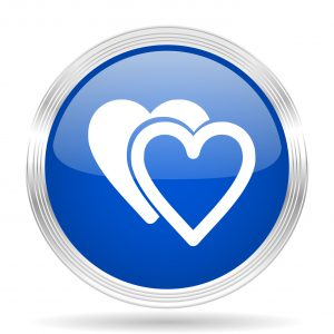 love blue silver metallic chrome web circle glossy icon