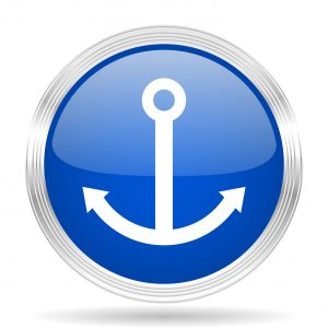 anchor blue silver metallic chrome web circle glossy icon