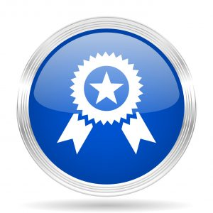 award blue silver metallic chrome web circle glossy icon